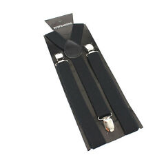 25mm Adjustable Mens Men Braces Plain Black Wide & Heavy Duty Suspenders