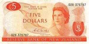 New Zealand  $5  ND 1968  P 165b  Series  O28  Circulated Banknote  HR