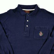 Vintage Chaps Ralph Lauren Men's Shirt L Blue Crest Logo Lacrosse Sweater Rugby