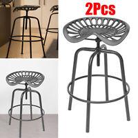 2Pcs Tractor Cast Iron Pub Bar Stool Rustic Chair Classic Vintage Industrial