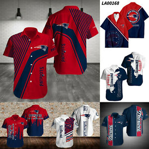 New England Patriots Men's Casual Football Button Down Shirt Short Sleeves S-5XL