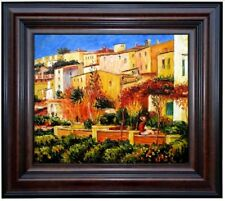 Framed Renoir Auguste Terrace at Cagnes Repro, Hand Painted Oil Painting 20x24in
