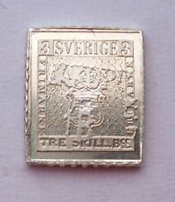 Sweden 3 Skill Miniature Stamp 1855 Sterling Silver Proof (Τ14,1)
