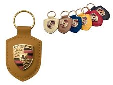 Porsche Original Cognac Leather Key Fob with Colour Crest in Presentation Box
