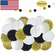 US STOCK 22PCS Paper Pom Poms Flower Lanterns Polka Dot Wedding Party Decoration