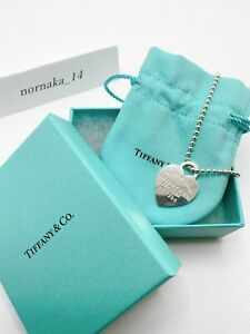 MINT Tiffany & Co Tag Ball Chain Heart Pendant Necklace with Box