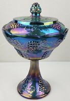 Indiana Glass Blue Harvest Grape Carnival Glass Compote Pedestal Dish w/ Lid