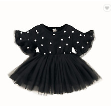 Kid Baby Girl Dot Princess Dress Lace