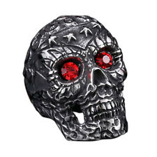 Skull Red CZ Biker Ring Chunky Heavy Punk Gothic Ring Stainless Steel Huge