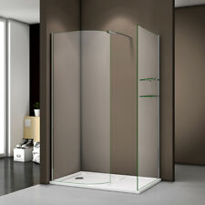 1200 x 800mm Shower Enclosure Curved Wet Room Shower Screen + Stone Tray Shelves
