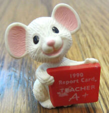 Hallmark Merry Miniatures 1990 Report Card A+ Teacher White Mouse