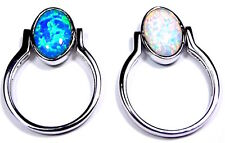 Reversible Blue & White Fire Opal Solid 925 Sterling Silver Ring size 5 - 9