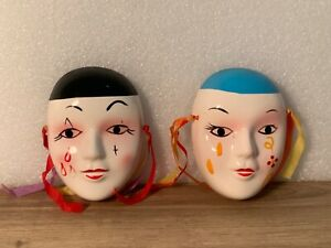 Vintage Porcelain Ceramic Handpainted Wall Hanging Face Fashion Ribbons Mask a-1