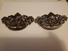 Antique Vintage Brass Metal Dresser Drawer Pulls Knobs Handles Lot Of 2