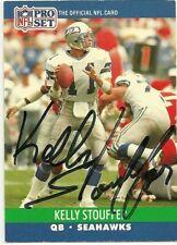 1990 NFL Pro Set KELLY STOUFFER Signed Card Lambeau Field SEAHAWKS COLORADO ST
