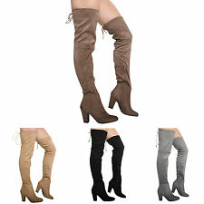 NEW WOMENS LADIES BLOCK HIGH HEEL ZIP OVER THE KNEE THIGH STRETCH BOOT SHOES