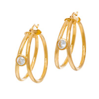 DIAMONIQUE 9/10 CT YELLOW-PLATED STERLING SILVER ROUND SPLIT HOOP EARRINGS QVC
