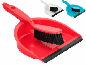 Soft Dustpan & Brush Set Floor Sweeper Cleaner Rubber Lip Lightweight 3 Colours
