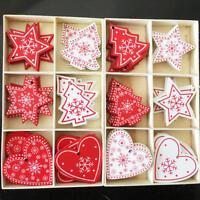 24 * Madera Adornos para árbol de Navidad Ornamento Colgante regalo Decoraciones