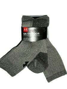 Under Armour men's Brown Marl wool blend Boot socks 2 pair size Large