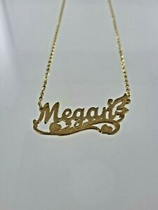 "18k Yellow Gold ""Megan"" Nameplate Pendant w/ Heart + Necklace"