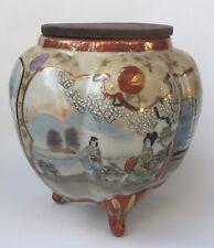 Ancien BRÛLE-PARFUM Tripode Japonais en Porcelaine de KUTANI Japon