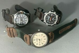 3X MENS TIMEX EXPEDITION BLACK BEIGE DIAL FIELD ANALOG BROWN BLACK BAND WATCHES