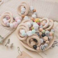 Baby Wooden Rings Teether Silicone Beads Bracelets Teething Rattle Stroller Toys