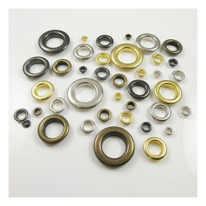 SOLID BRASS EYELETS 4mm - 21mm *9 SIZES & 4 COLOURS* GROMMETS LEATHERCRAFTS UK