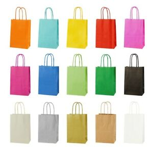 EXTRA SMALL BRIGHT PAPER PARTY BAGS - GIFT BAG WITH HANDLES - SIZE 14 x 21 x 8cm