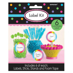 Candy Buffet Lolly Bar Party Label Kit Multi-coloured 24 pieces