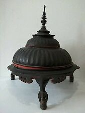 Antique Burmese lacquer temple offering storage