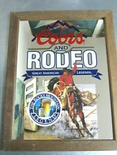 1992 Original Coors and Rodeo Rocky Mountain Legend Wood Framed Bar Mirror