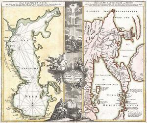 "1725 Homann Map of the Caspian Sea and Kamchatka 11""x13"" Wall Art Print Decor"
