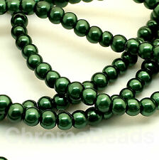 3mm Glass Faux Pearls strand - Moss Green (230+ beads) jewellery making, craft