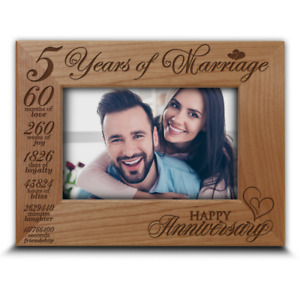 Traditional Wood Gift for 5th Anniversary-5 years of Marriage- Engraved Wood