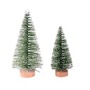 Christmas Tree Mini Pine Tree With Wood Base Home Table Top Decor Christmas