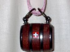 Puppy St. Bernard Wooden Barrel Keg With A Pink Strap And A  Swiss Cross