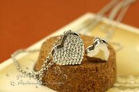 Stunning 18K White Gold Filled Double Heart Swarovski Crystal Pendant Necklace