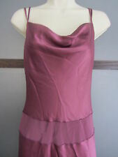 MONSOON Dress Sz 4 Draped Neck Form Fitting Shimmery Purple Mauve Low Back Pippa