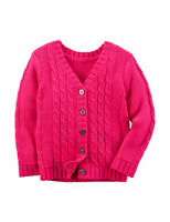 NWT $32 Carters Toddler Girl Bright Pink Cable Knit Cardigan Sweater  2T 3T 4T