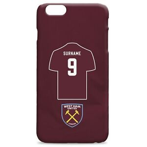 PERSONALISED West Ham United FC Gifts - Shirt Hard Back Phone Case - Official