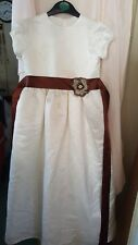 VINTAGE ? WEDDING BRIDESMAID PARTY DRESS CHILDS SHORT SLEEVED WHITE SILKY 28 CHE