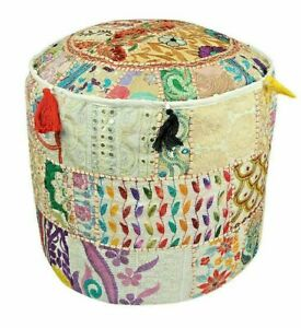 White Vintage Indian Patchwork Handmade Footstool Round Pouffe Decor Home Ethnic