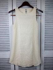 Anthropologie Monteau White Eyelet Lace Dress Size M Knee Length Sleeveless
