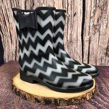 Dirty Laundry Woman's Chevron Rain Boots w Bow Sz 6 Black/White New