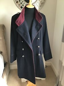 Monsoon Military Style Navy blue coat size 16 worn twice in excellent condition