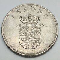 1963 Denmark Danmark 1 One Krone Circulated Danish Coin D791