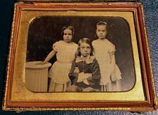 Antique  Plate Goldtone Daguerreotype, 2 Sister & Stern Brother, NO RESERVE!
