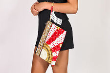 Quilted designer inspired scarf polkadot Baroque sun dial print clutch bag